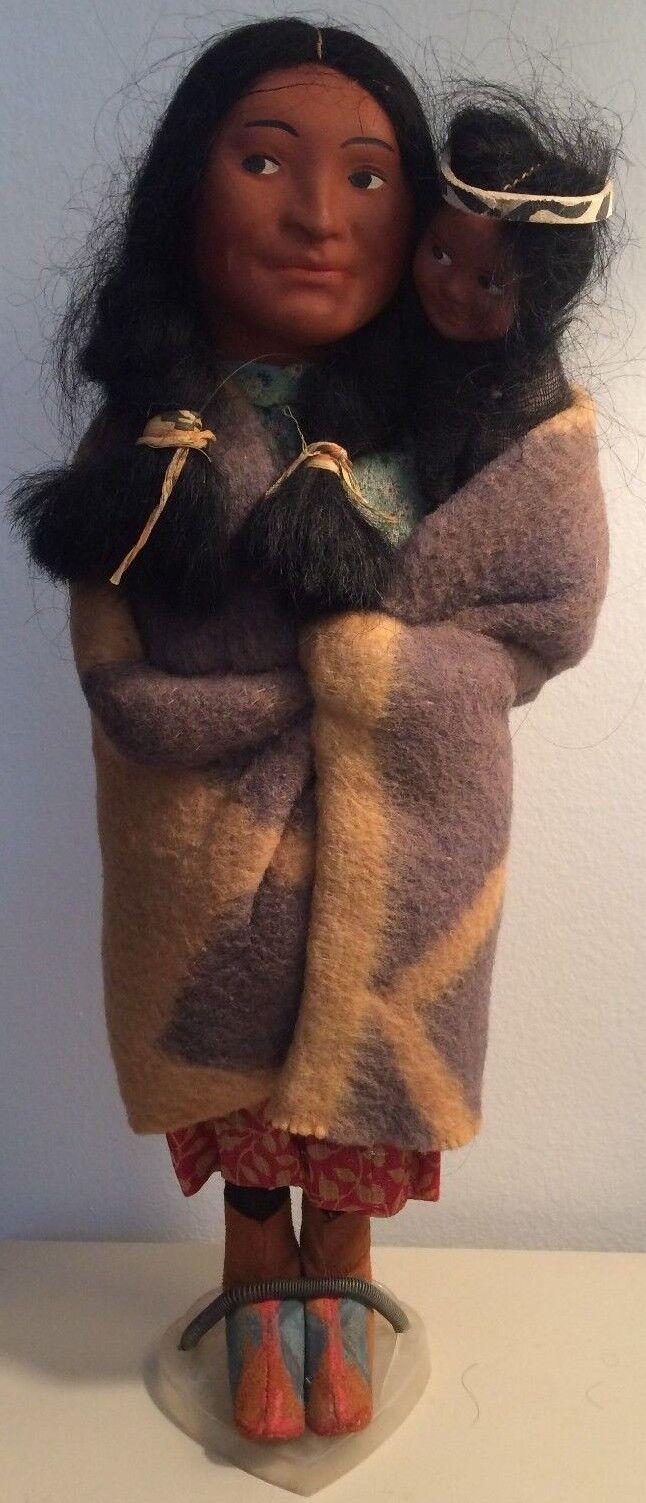 Damaged Vintage Skookum Indian bambola & bambino  (Papoose) Rare Style, Pre-war  goditi il 50% di sconto