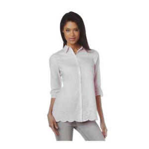 Cotton Eyelet Blouse White Tunic Blouse Plus Size Liz Claiborne