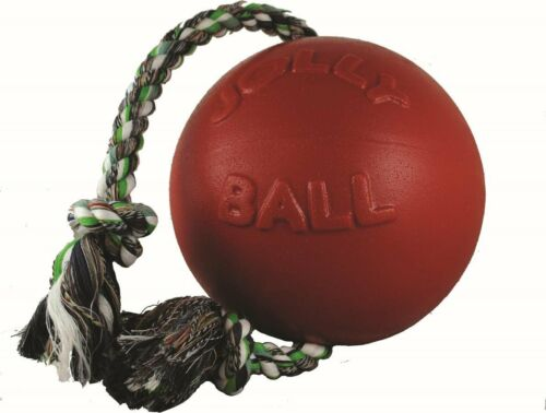 Jolly Pets Romp-n-Roll 6 inch RedRubber Ball with Rope for Dogs