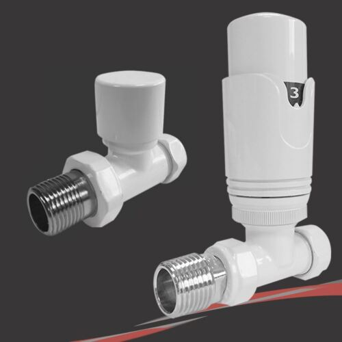 Radiatore termostatico TRV Bianco /& Portasciugamano VALVOLE-angolare Angolo /& Dritto