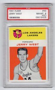 1961-Fleer-43-Jerry-West-Rookie-RC-Card-PSA-8-Los-Angeles-Lakers-NICE