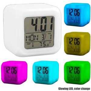 Reloj-Despertador-Digital-Cubo-Dado-Alarma-LED-Varios-Colores-Temperatura-Blanco
