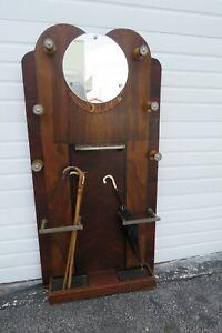 Deco Rosewood Inlay Narrow Hall Tree Coat Hat Umbrella Stand with Mirror 2193