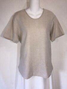 FLAX-by-Jeanne-Engelhart-Linen-Simple-Boxy-Pullover-Tunic-Top-Lagenlook-Shirt-S