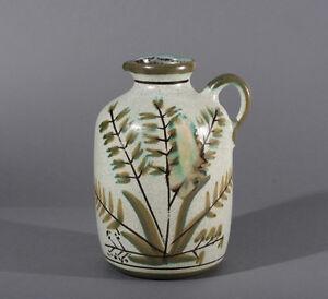 ältere Keramik Vase Grün Maiglöckchen Krug Mit Henkel Gesprenkelt