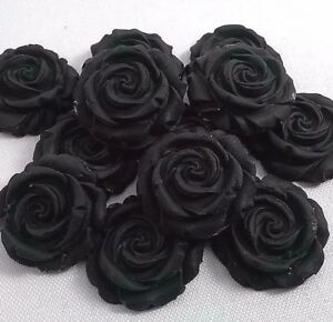 12-BLACK-ROSES-edible-sugar-flowers-cup-cake-decorations-toppers-wedding
