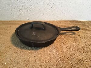 Vintage-LODGE-3SK-Cast-iron-Skillet-USA-6-5-034-Frying-Pan-w-Lid