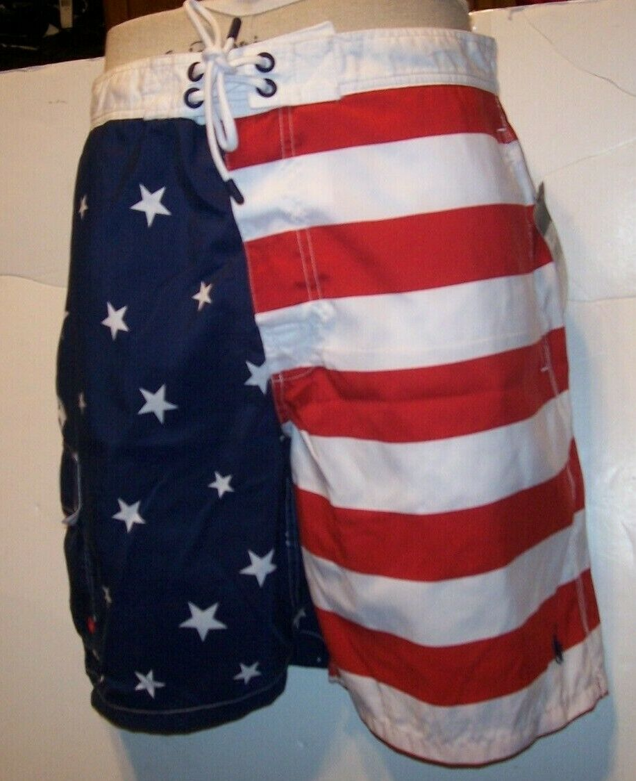 Polo Ralph Lauren Fourth of July American FLAG board shorts swimsuit trunk LARGE