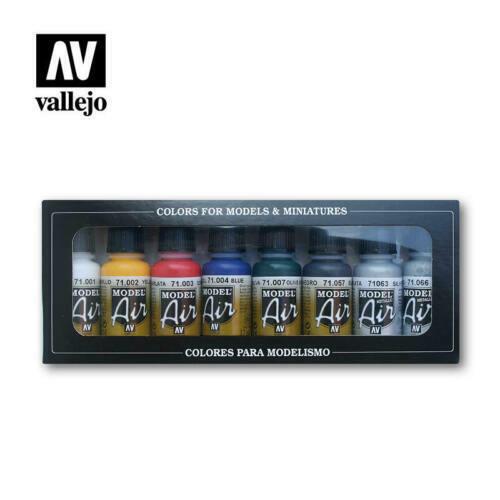 Vallejo Hobby Paint Set - Model Air Basic Colors 8 Bottles of 17mL (71174)