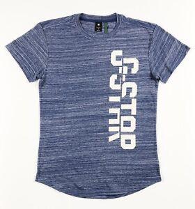 G-STAR-RAW-T-shirt-a-encolure-ras-du-cou-homme-starkon-Coupe-Ample-Bleu-Clair-Graphique-RRP-30
