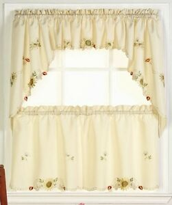 Image Is Loading Sunflowers Embroidered Kitchen Curtains Brand NEW