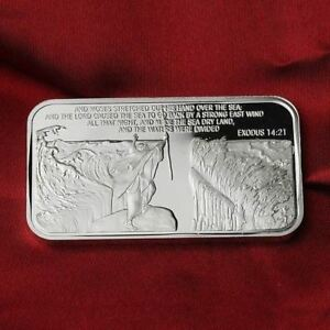 The Exodus  14:21  / 1 Troy oz  .999 Fine Silver Bar  Round Bullion /    SB1F5