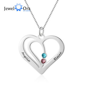 Personalised Engraved Name Birthstones Necklace Custom Couple Necklace Love Gift