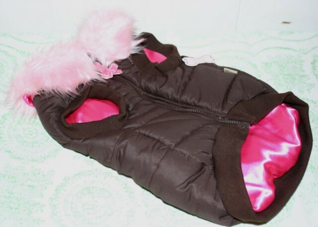 Brown MONKEY DAZE Puffy Small DOG Halter Vest Faux Fur Collar Hot Pink Lining 2X