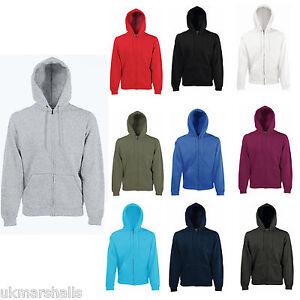 BC360 Fruit Of The Loom Mens Zip Through Hooded Sweatshirt Hoodie