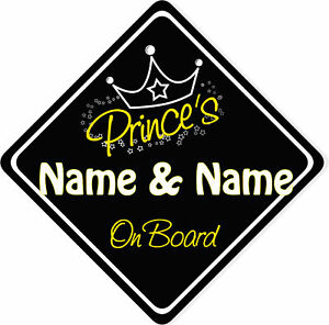 Personalised Princess On Board Car Sign New Black