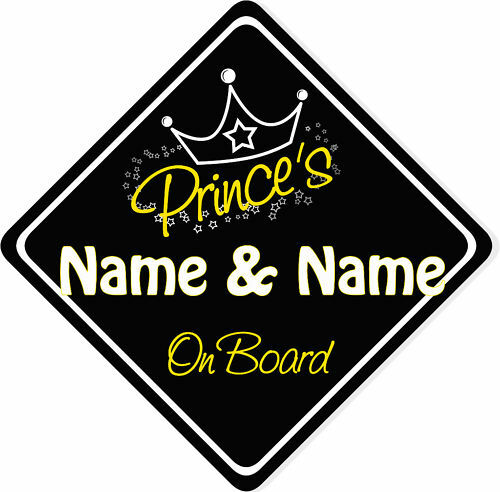 Black Personalised Prince/'s On Board Car Sign New