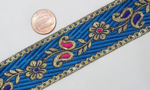 "3.04 Cm 1.20/"" wide By The Yard Jacquard Trim Woven Braid Sew Ribbon T863"