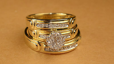 His And Hers Diamond And Gold  Engagement Rings And Multiple Wedding Band Set
