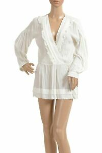 Just-Cavalli-Women-039-s-White-Long-Sleeve-Blouse-Top-US-S-IT-40