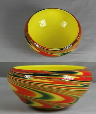Glas Schale - Hauptfarbe Gelb , Dickes Glas Ø Bis Ca. 22 Cm - Ca. 1,2 Kg. /s172