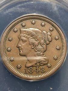 1848 braided hair large cent Anacs Vf35 Choice Looks Like Higher Grade