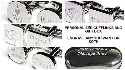 Engraved Silver Cufflinks & Personalised Gift Box Cuff Link Wedding Best man