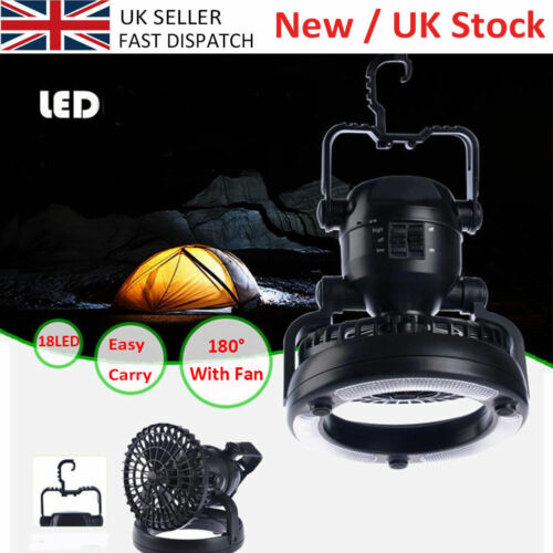 Ultra Bright 18 LED Light Fan Outdoor Camping Lantern Tent Lamp Night Light Lamp