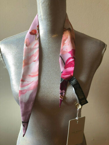 NEW TED BAKER LONDON SERENITY MINI SKINNY PALE PINK SILK FLORAL SCARF WRAP