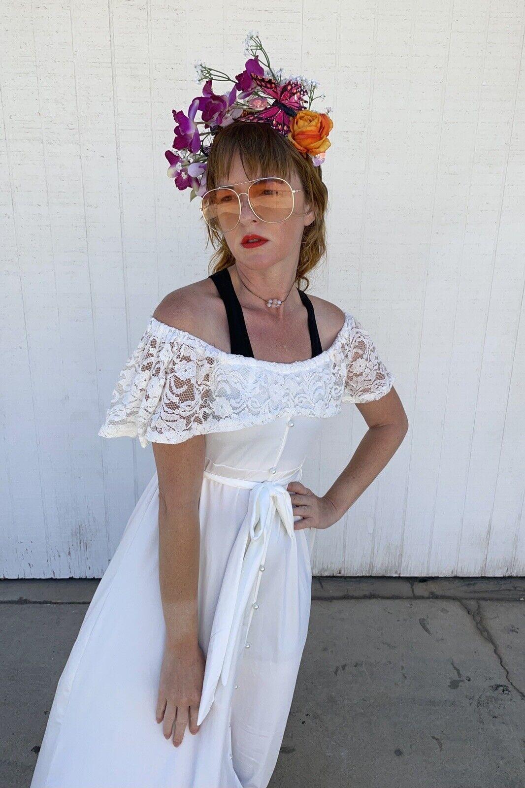 Vintage White Lace Gown Wedding Lingerie Prairie … - image 3
