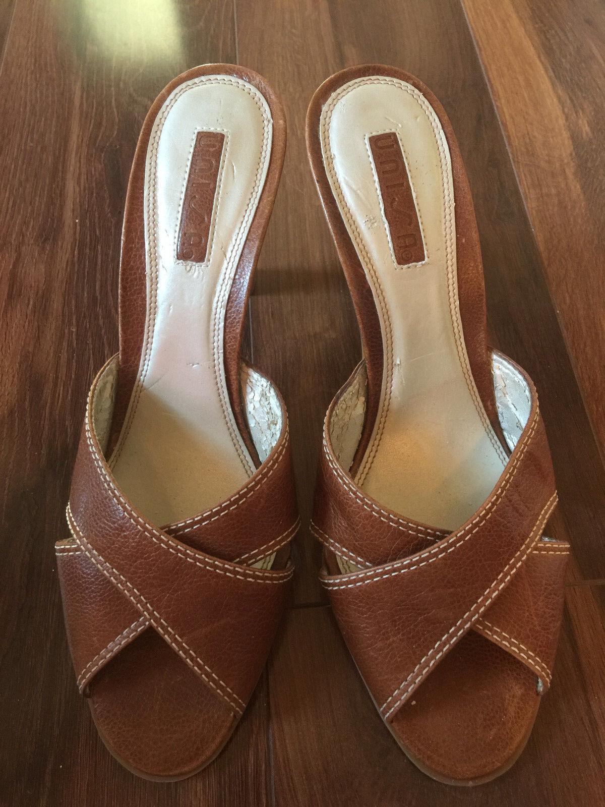 NEW ladies MEDIUM UNISA MEDIUM ladies HEEL SANDALS shoes BROWN LEATHER high PEEP TOE size 8.5 6a51b9