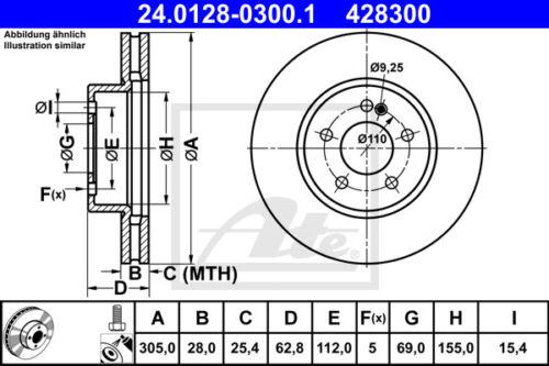 24.0128-0300.1 für MERCEDES-BENZ C-CLASS VA 2x ATE Bremsscheibe Vorderachse