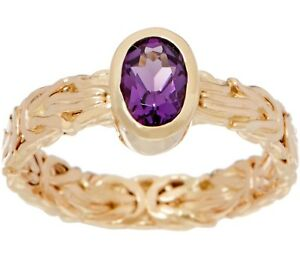 Natural-Oval-Amethyst-Gemstone-Byzantine-Band-Ring-Real-14K-Yellow-Gold-QVC