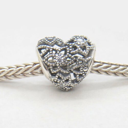 PJL Authentic Sterling Silver Blooming Heart Clear CZ Bead