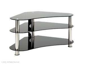 GT7-Black-Glass-TV-Stand-for-32-034-42-034-LCD-LED-Plasma-TV-for-Corner