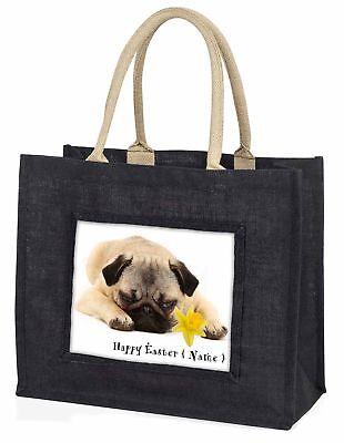 personalisiert Name Mops Hund große schwarze Einkaufstasche WEIHNACHTEN Prese ,