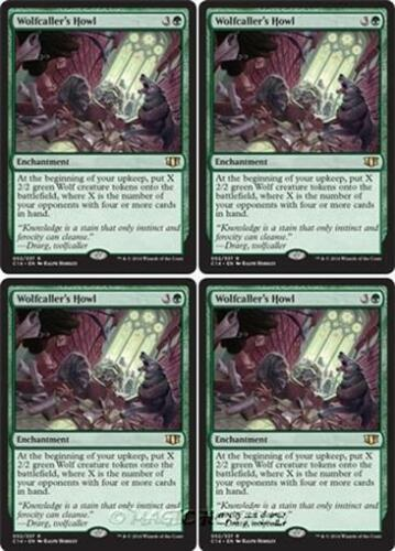 4x WOLFCALLER/'S HOWL Commander 2014 MTG Green Enchantment Rare