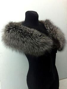 95d4e220b04d3 43 Inches Silver Fox Fur Collar Stole Boa Natural White Fox Scarf ...