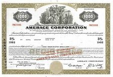"Amerace ""Esna"" Corporation > 1974 Delaware  old bond certificate share"