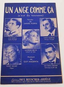 """Partition sheet music DARIO MORENO / SIDNEY BECHET : Un Ange Comme ça *50's Jazz - France - Commentaires du vendeur : """"Voir description svp / Please read details"""" - France"""