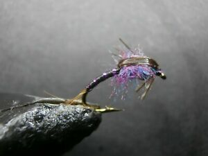 1 DOZEN  BEAD HEAD PURPLE AND BLACK NYMPHS FOR FLY FISHING-BH 23