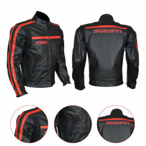 Red amp; Harley Cowhide Biker Black Ducati Jacket Real Leather Motorcycle Men's qanXRn5Y0