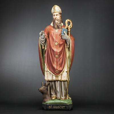 st hubert statue st hubertus antique figure vintage plaster figurine 24 ebay