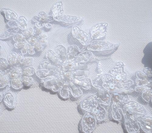 SPITZE APPLIKATION Meterware Weiß od Ivory  42072akn Brautmode