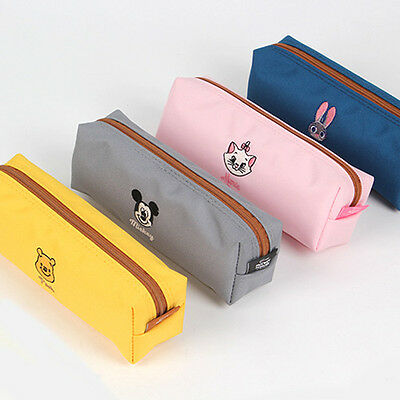 1x Disney Anime Characters Pencil Case Pen Bag - Mickey Mouse Pooh Marie Judy