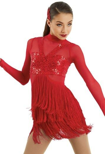 Figure Skating Kleid Dance Costume Fahrradtard rot Fringe 4 Farbes