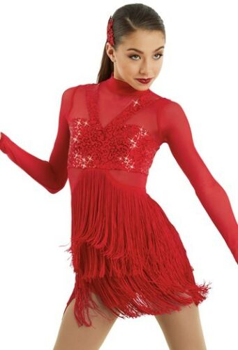 Figure Skating Dress Dance Costume Biketard Red Fringe 4 colors