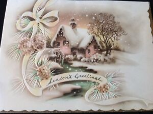 #267 Gorgeous Vintage Christmas Greeting Card Pastel Pinks Outdoor Cottage Scene