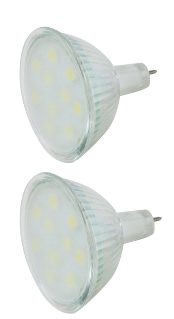 4 x MR 16 Replacement Bulbs LED 10 Chip Cool White 3 Watt High Quality LED Chips