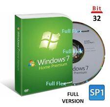 Microsoft Windows 7 Home Premium 32-bit SP1 Full Version License COA Product Key